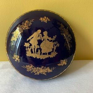 "Limoges France Courting Couple Cobalt Blue 5"" Dish"